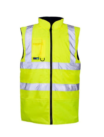 HI VIS REVERSIBLE LINED BODYWARMER YELLOW