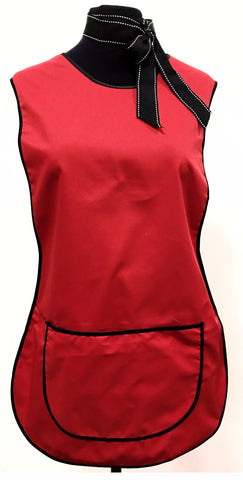 LADIES TABARD RED WITH POCKET (BLACK TRIM)