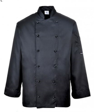 CHEFS JACKET POPPER FRONT L/S BLACK - PORTWEST