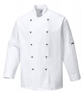 CHEFS JACKET POPPER FRONT L/S WHITE - PORTWEST