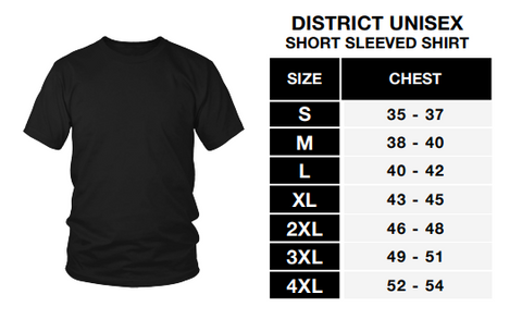 district unisex shirt size chart