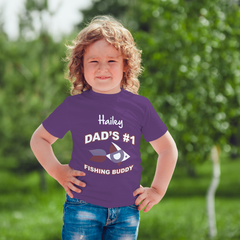 Dad's number one fishing buddy kids purple t-shirt