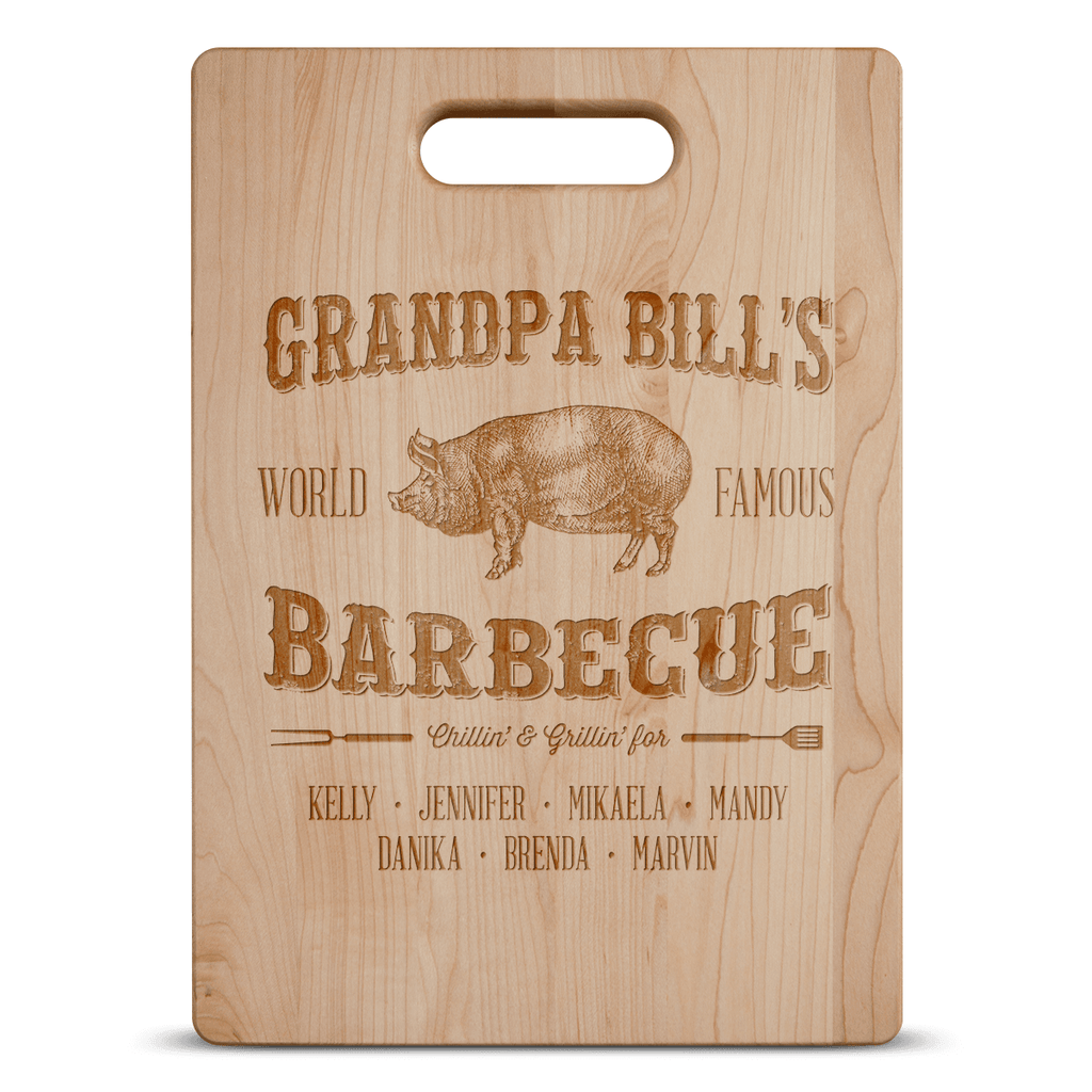 Grandpa's Barbecue Personalized Cutting Board Add Names