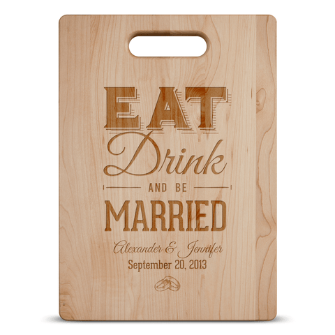 Image of Eat Drink and Be Married Wood Cutting Board Personalized