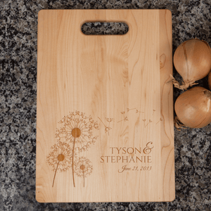 Dandelion Flowers Personalized Couple's Cutting Board
