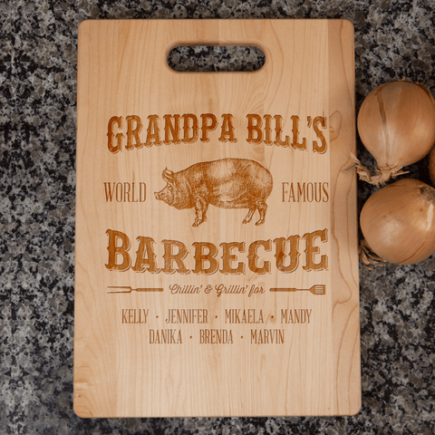 Image of Grandpa's Barbecue Personalized Cutting Board Add Names