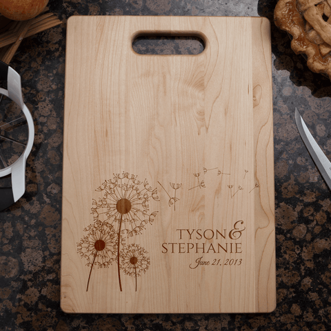 Image of Dandelion Flowers Personalized Couple's Cutting Board