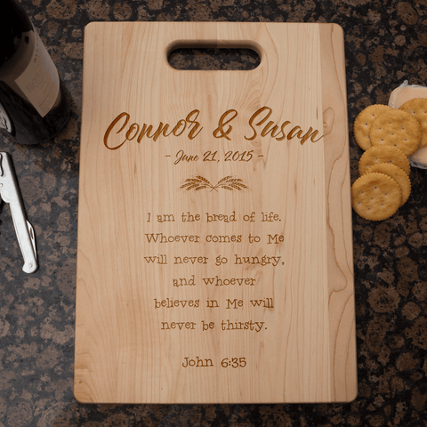 Bread of Life Christian Couples Personalized Wooden Cutting Board