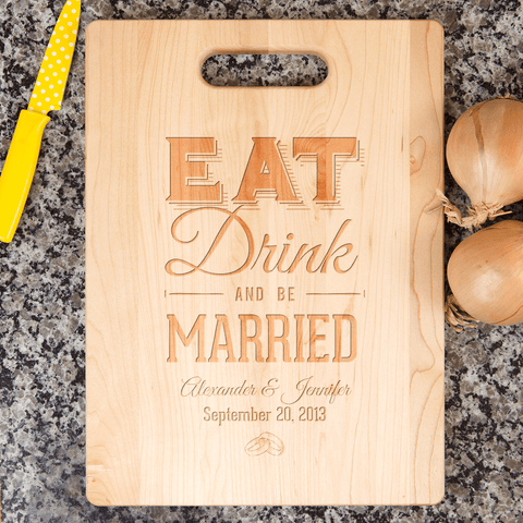 Image of Eat Drink Be Married Personalized Cutting Board