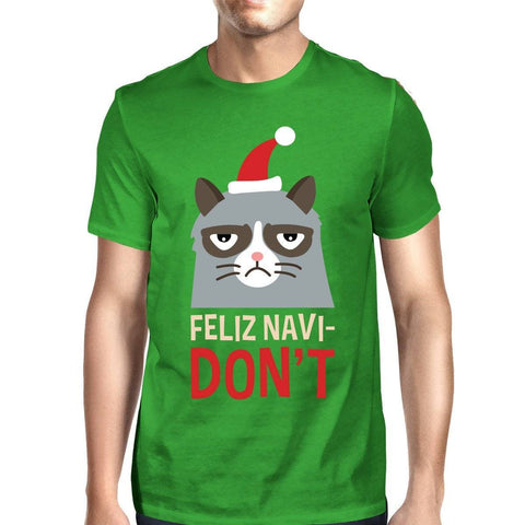 Image of Feliz Navidon't Green Unisex T-shirt Christmas Gift For Cat Lovers