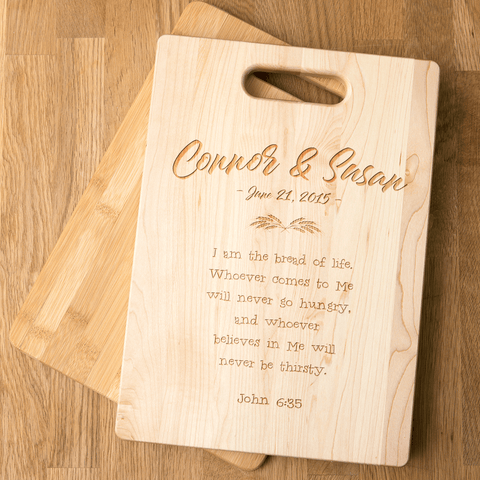 Image of Bread of Life Christian Couples Personalized Wooden Cutting Board