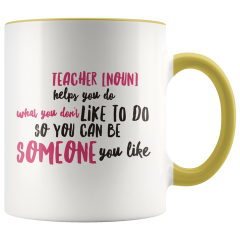 Image of teacher appreciation custom white mug yellow handle