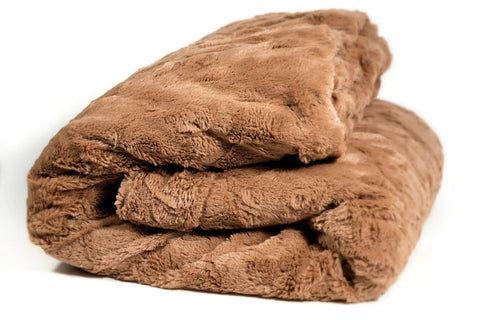 Luxury Solid Cinnamon Mocha Brown Wooded River Faux Fur with Sherpa Backside Soft Warm Fleece Throw Blanket