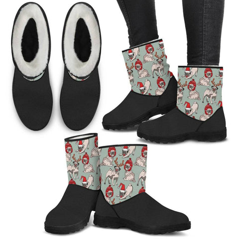 Image of Pug Dog Design Holiday Faux Fur Boots
