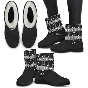 Music Notes Faux Fur Boots