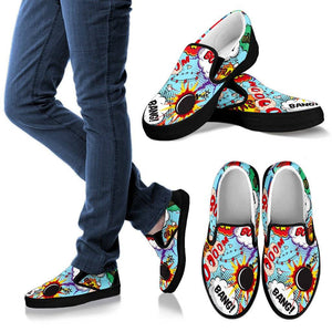 Comic Book Art Women's Slip On Shoes