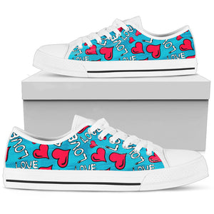 hearts and love women's graphic canvas shoes