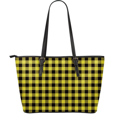 Image of yellow buffalo plaid vegan leather tote