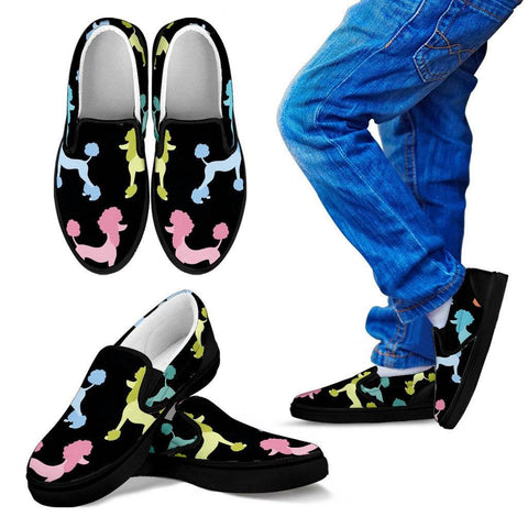 Poodle Design Kids Slip On Shoes