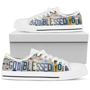 Faith Gift Inspirational God Blessed You Low Top Canvas Shoes