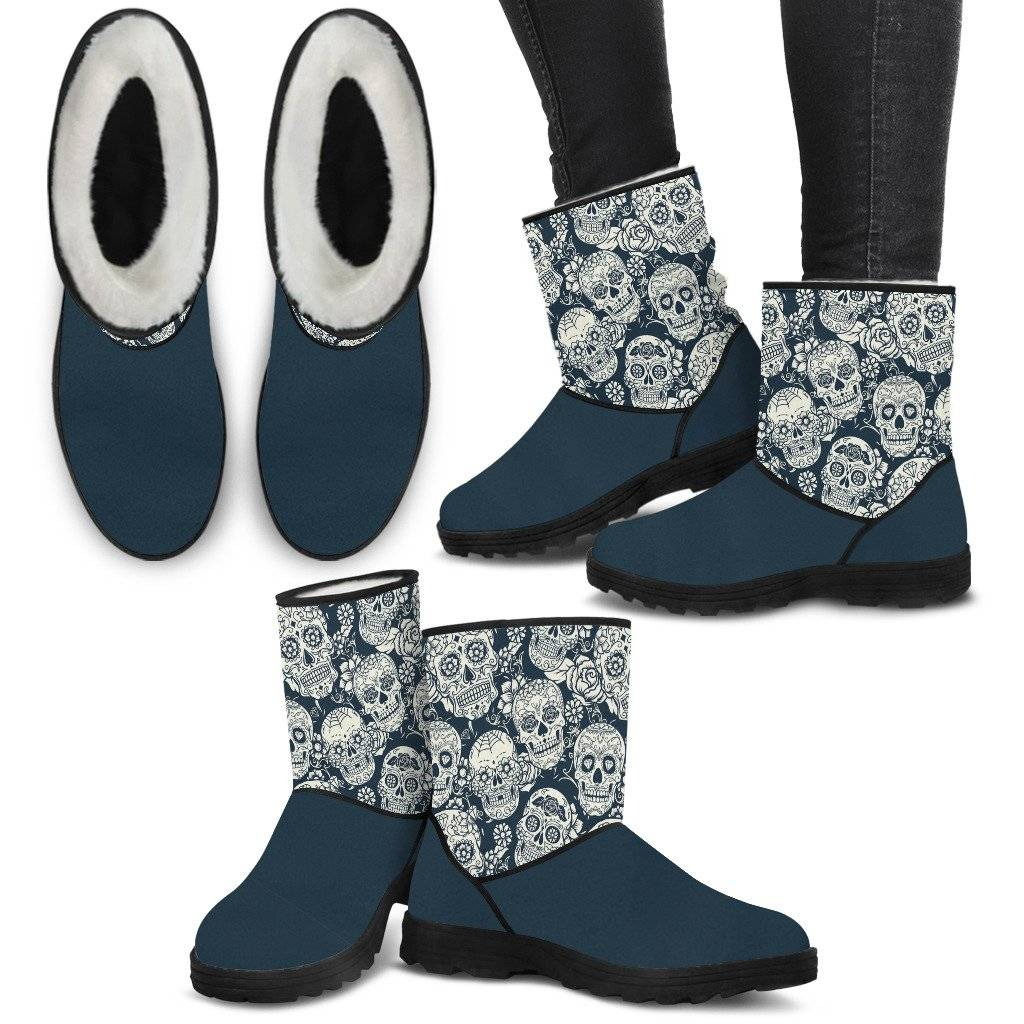 Sugar Skull Navy and White Faux Fur Boots