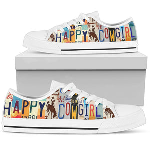happy cowgirl graphic print lowtop sneakers