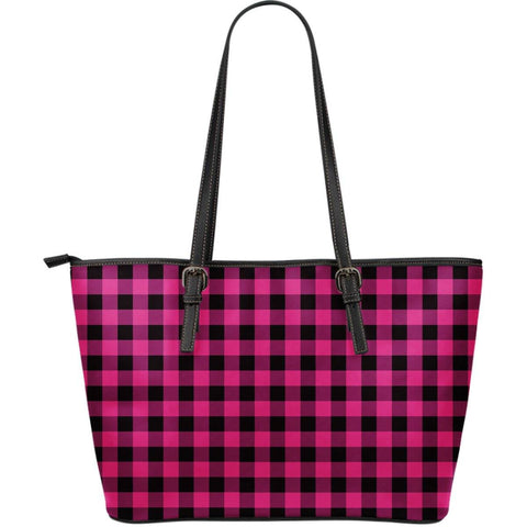Image of pink buffalo plaid vegan leather tote hot pink