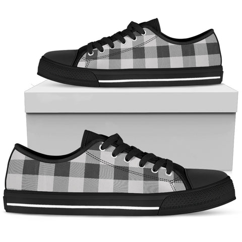 Image of men's black and white buffalo check low top sneakers shoes