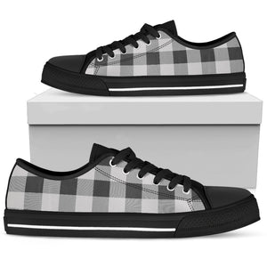 men's black and white buffalo check low top sneakers shoes