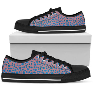 Blue Pink Confetti Ladies Low Top Shoes