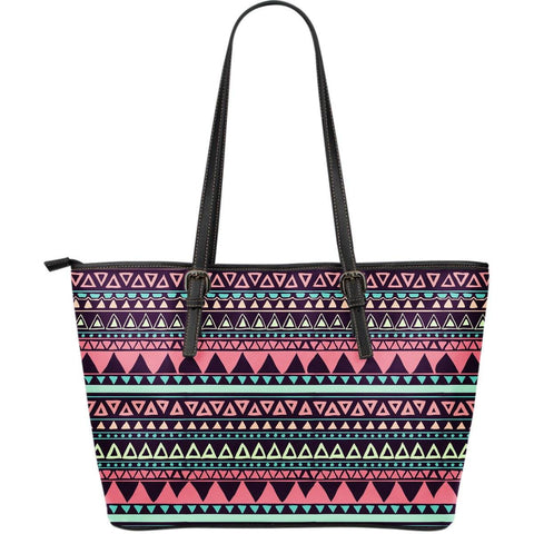 Chocolate and Pink Aztec Design Vegan Leather Tote
