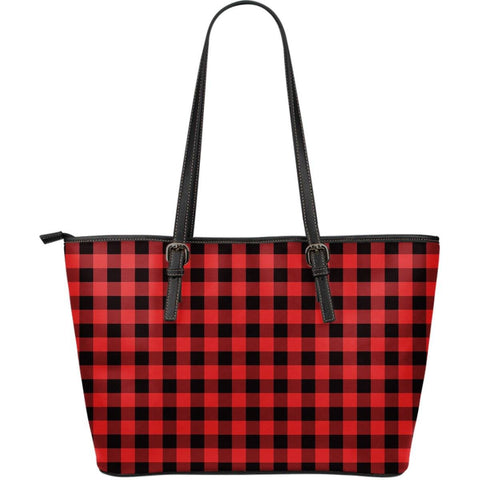 Image of red buffalo plaid vegan leather tote