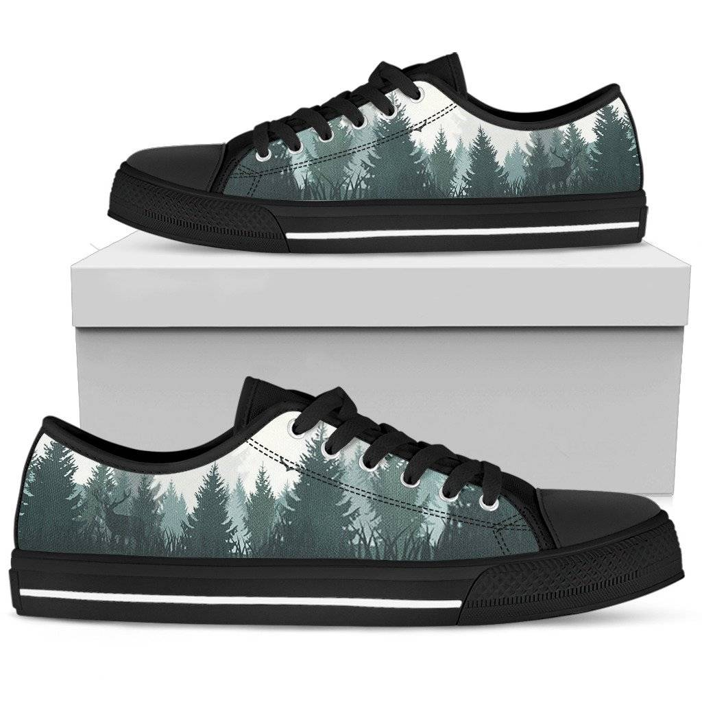 Pine Trees Pattern Women's Low Top Shoes