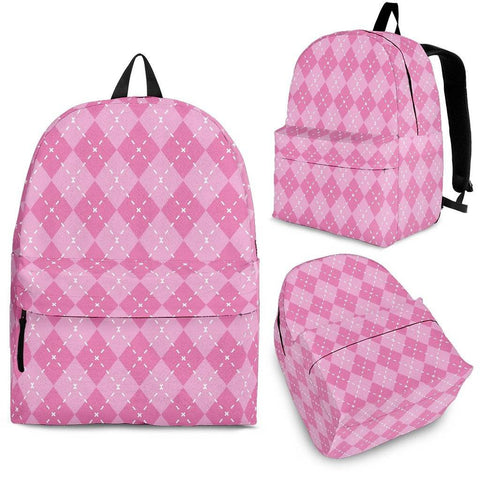 Pink Argyle Pattern Backpack in 3 Sizes