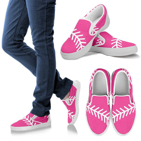 Softball Pink Ladies Slip On Shoes