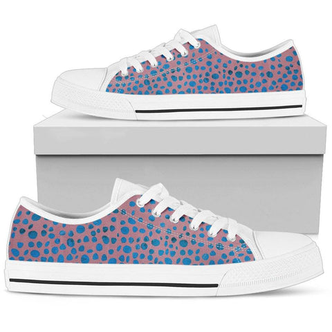 Image of Blue Pink Confetti Ladies Low Top Shoes