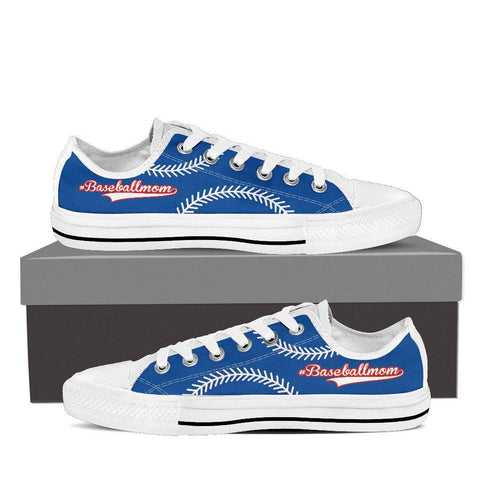 Baseball Mom Blue Low Top Shoes