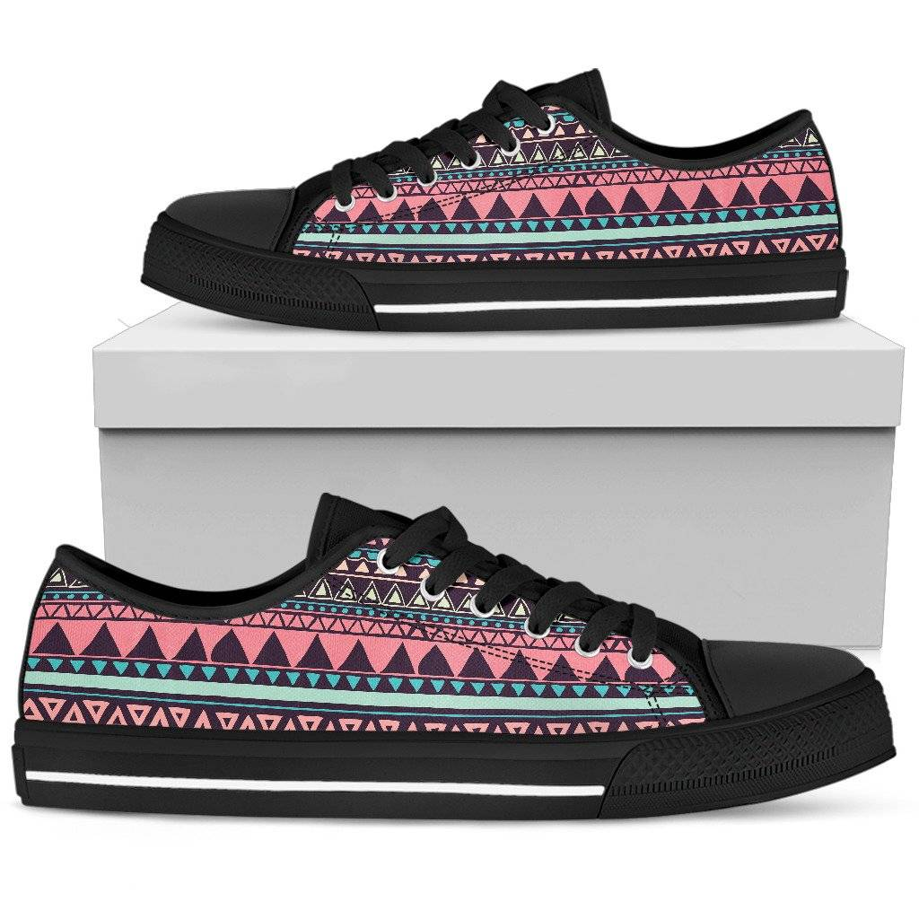 Chocolate and Pink Aztec Ladies Low Top Shoes