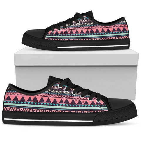 Image of Chocolate and Pink Aztec Ladies Low Top Shoes