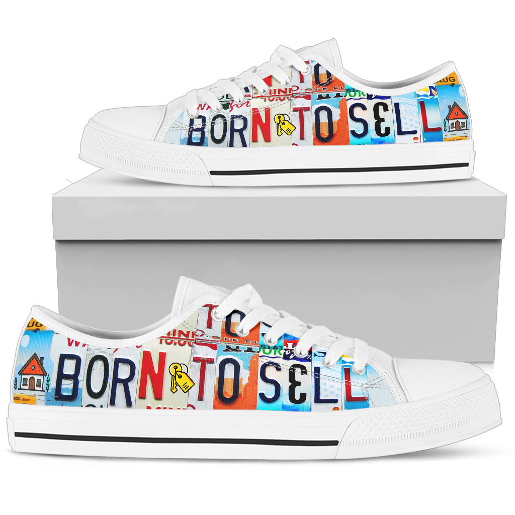 Realtor Born To Sell Men's Low Top Canvas Shoes