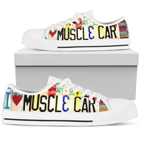 I Love Muscle Car Low Top Women's Shoes