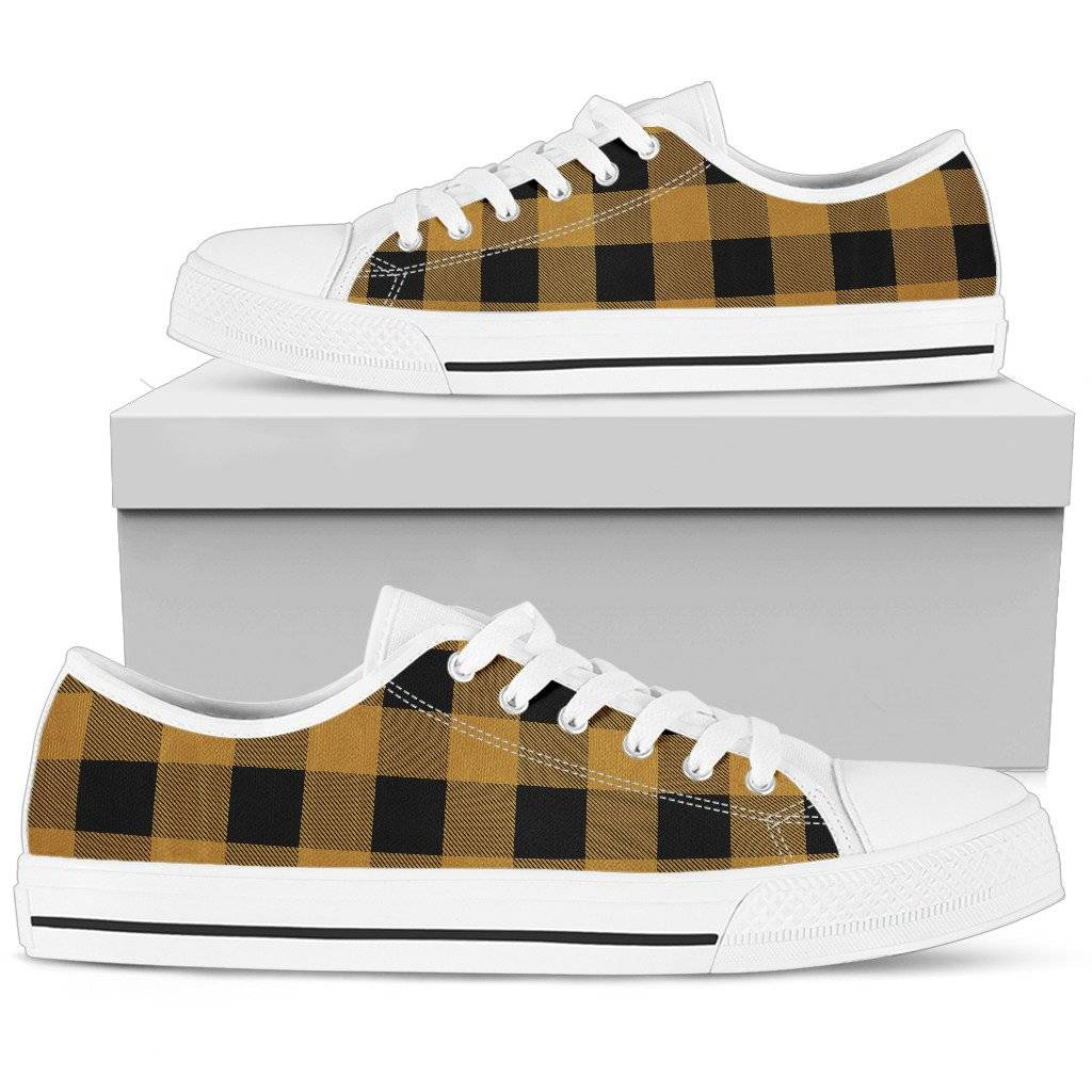 33f2ed233c Gold and Black Buffalo Plaid Low Top Shoes Unisex Black or White Sole