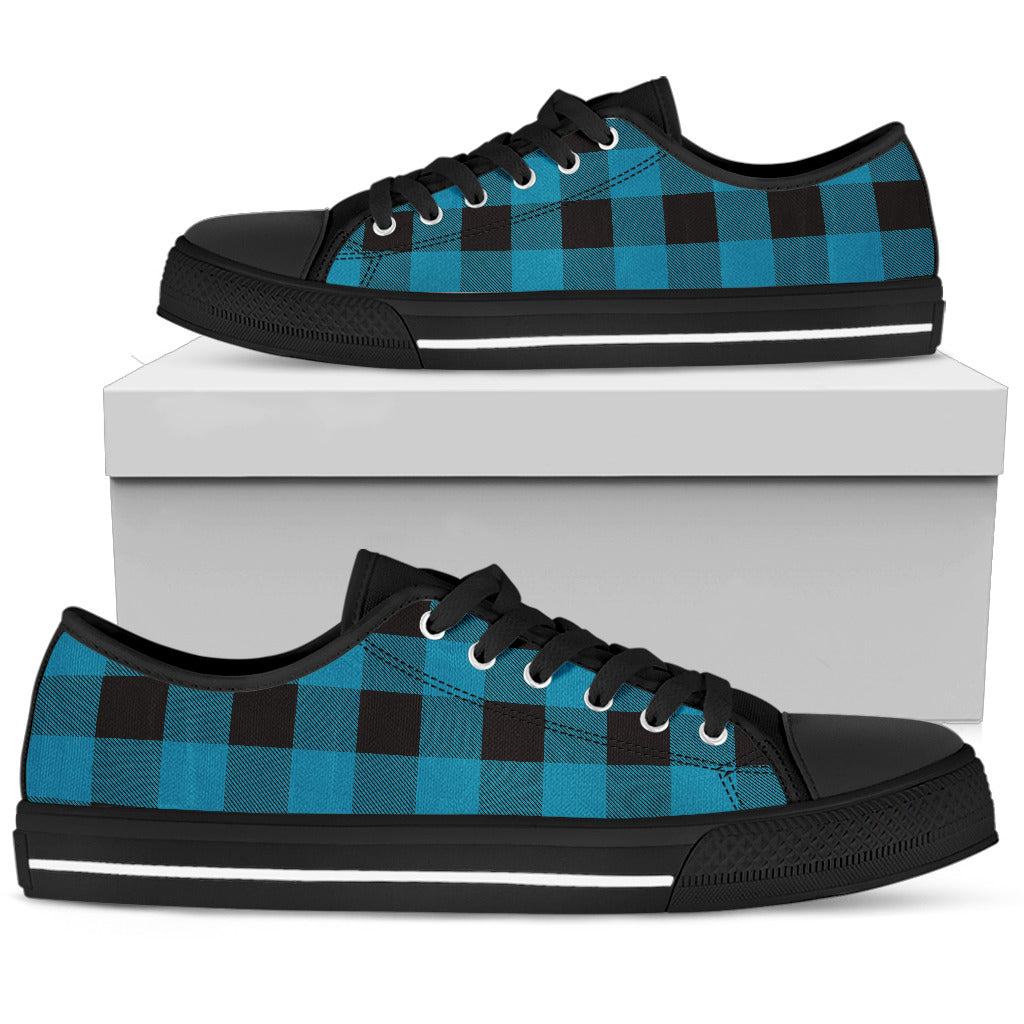 Blue and Black Buffalo Check Low Top Shoes White
