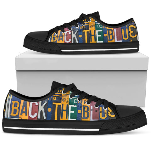 Back The Blue Police Support Men's Low Top Shoes