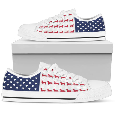weiner dog patriotic shoes