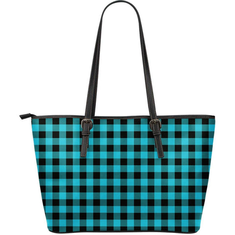Image of blue buffalo plaid vegan leather tote