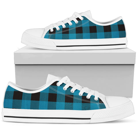 Image of Blue and Black Buffalo Check Low Top Shoes White