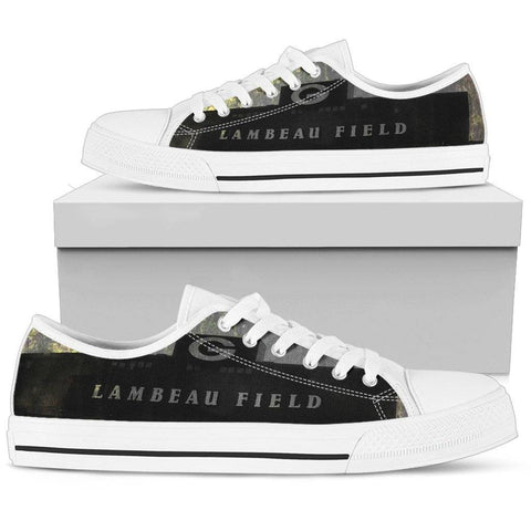 Image of Lambeau Green Bay Dark Grunge Low Top Shoes