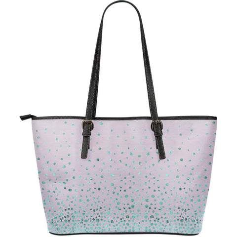 Image of Confetti Sparkles Vegan Leather Tote Pink with Blue Sparkles