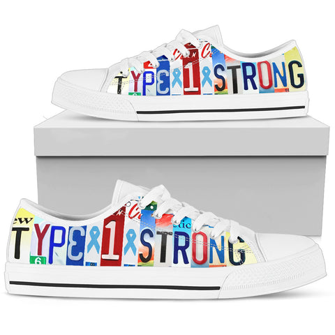 Type 1 Strong Diabetes Inspirational Custom Womens Low Top Shoes